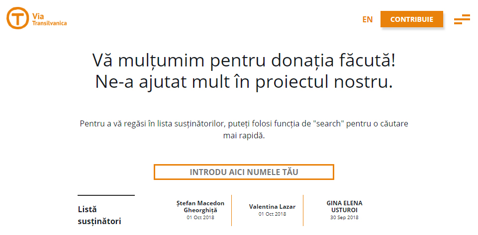 Susțin Via Transilvanica